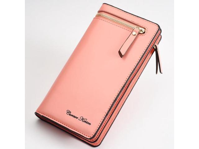 Fashion lady small bag new multi-function zipper clutch bag long paragraph casual purse handbag - Pink {even code} (Luggage & Bags) photo