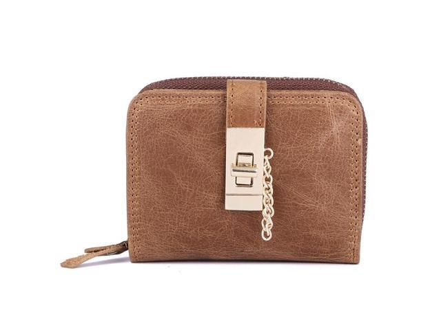 Women Genuine Leather Zipper Card Holder Chain Lock Short Purse Wallets #brown - Brown (Luggage & Bags) photo