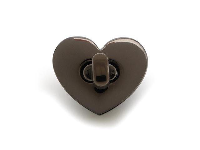 Heart Shape Clasp Turn Lock Twist Lock Metal Hardware For DIY Handbag Bag Purse Black - Black (Luggage & Bags) photo