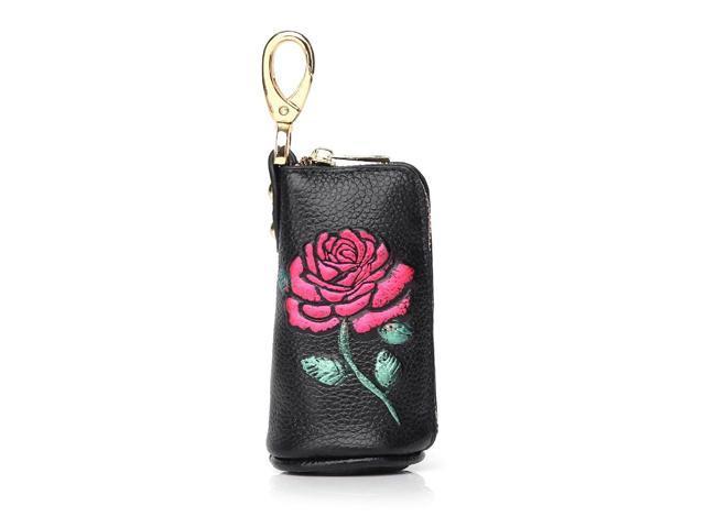 Zipper key case leather first layer cowhide car key case portable coin purse - Aqua (Luggage & Bags) photo