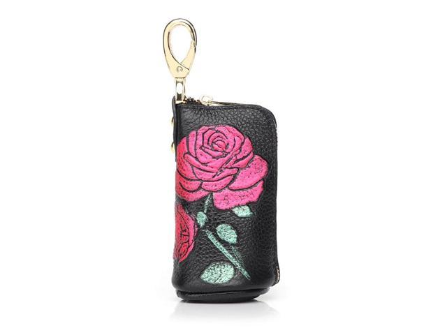 Zipper key case leather first layer cowhide car key case portable coin purse - Apricot (Luggage & Bags) photo