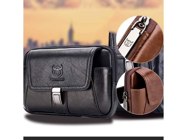 BULLCAPTAIN Genuine Leather wallet Famous Brand Men Cell Mobile Phone Case Cover Purse(First Layer Cowhide) - Black / Brown - Black (Luggage & Bags) photo