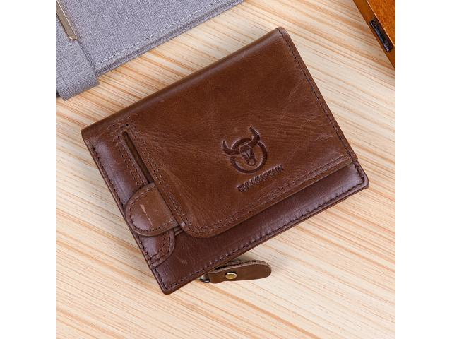 BULLCAPTAIN Men's Leather Wallet Coin Purse RFID Non-Scanning Leather Card Holder(First Layer Cowhide) - Black / Yellow / Brown - Brown (Luggage & Bags) photo