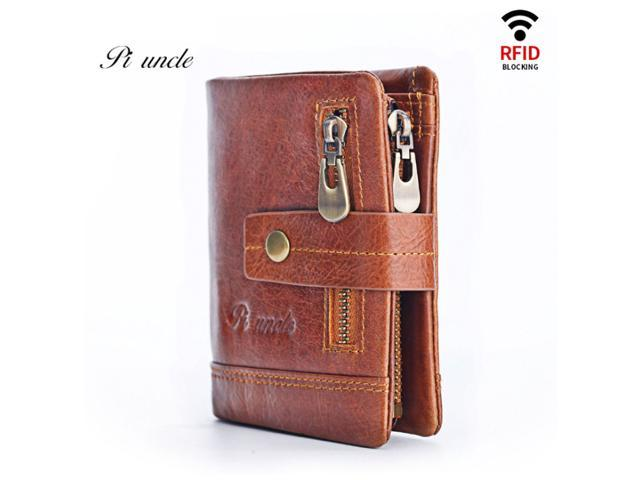 Free Engraving 100% Genuine Leather Men Wallet Coin Purse Small Card Holder(First Layer Cowhide) - Brown / Coffee - Brown (Luggage & Bags) photo