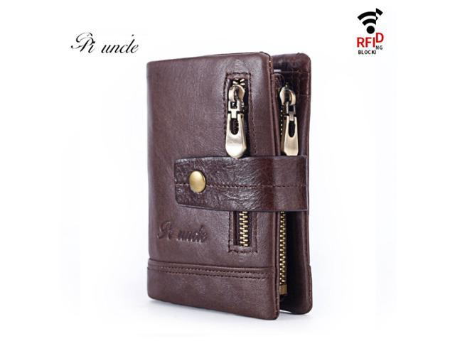 Free Engraving 100% Genuine Leather Men Wallet Coin Purse Small Card Holder(First Layer Cowhide) - Brown / Coffee - Coffee (Luggage & Bags) photo