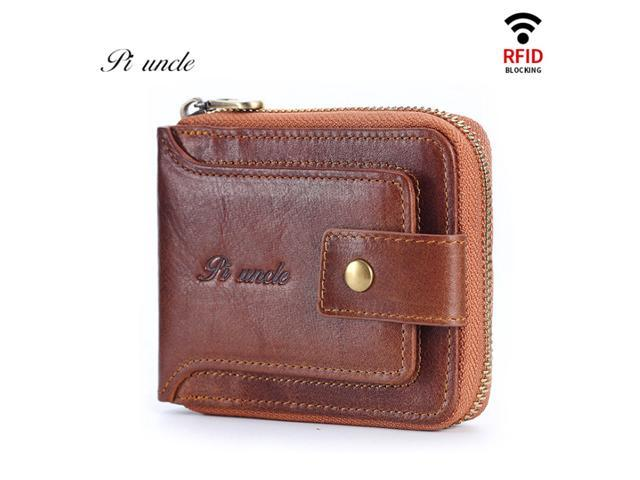 PI Unlce Men's Purse Leather wallet Purse Male Purse RFID Card Holder Wallet Storage(First Layer Cowhide) - Coffee / Brown - Brown (Luggage & Bags) photo