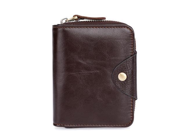 Fashion leather men's wallet first layer cowhide multi-card zipper short clutch bag purse - 2076 vertical Beige (one size only) (Luggage & Bags) photo