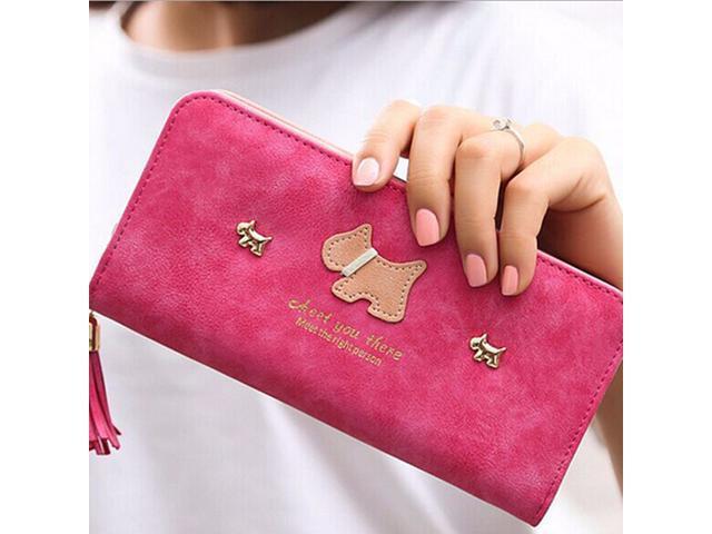 Women Girl Purse Clutch Change Coin Card Bag Handbag Long Tassel Dull Dog Wallet Rose Red - (Luggage & Bags) photo
