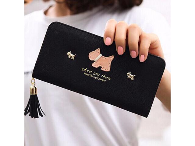 Women Girl Purse Clutch Change Coin Card Bag Handbag Long Tassel Dull Dog Wallet Black - (Luggage & Bags) photo