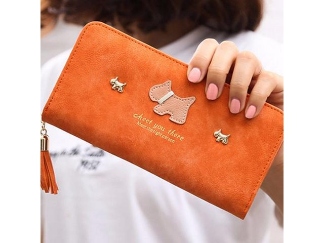 Women Girl Purse Clutch Change Coin Card Bag Handbag Long Tassel Dull Dog Wallet Orange - (Luggage & Bags) photo