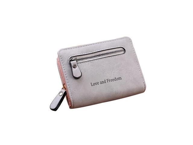 Women Leather Short Fashion Wallet Card Holder Case Purse Handbag Zipper Clutch #grey - Grey (Luggage & Bags) photo