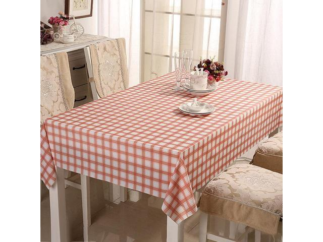 110*160CM PVC Tasteless Waterproof Tablecloth Transparent Soft Glass Table Mat Stripe Grid Printing Table Cloth - Red grid 110 * 160cm (Home & Garden Household Supplies) photo