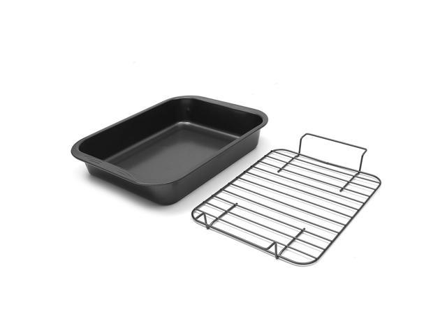 Carbon Steel 17-Inch Nonstick Oven Roaster Turkey Cooker Pan with V-Rack - Black photo