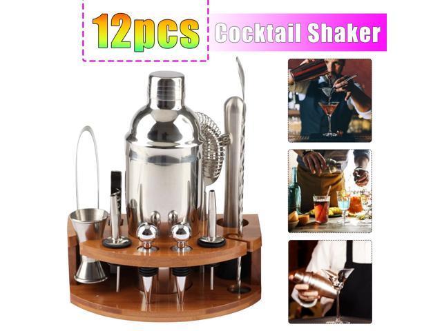 12Pcs Set Cross-border explosion models stainless steel cocktail shaker fish-shaped bamboo base set cocktail bartender bar appliances - photo