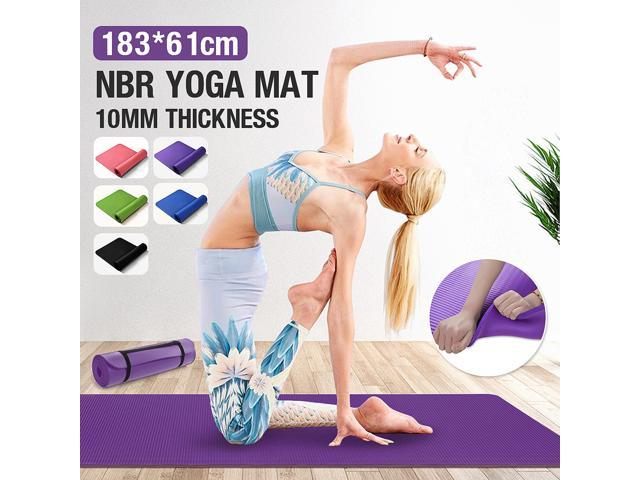 1830x610x10mm NBR Yoga Mat Non-slip Anti-Skid Tasteless Fitness Esterilla Pilates Gym Sport Outdoor Pad + FREE Carry Strap - Black (Sporting Goods Exercise & Fitness) photo
