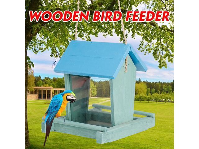 ?Care for birds? Outdoor Wooden Hanging House Bird Feeder Bird House Bird Frame Rainproof Sturdy Hard Wearing - Blue (Home & Garden Lawn & Garden) photo