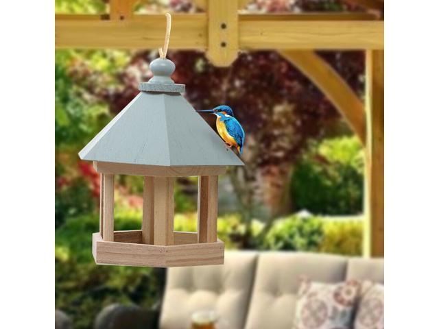 ?Care for birds? Outdoor Wooden Hanging House Bird Feeder Bird House Bird Frame Rainproof Sturdy - Beige+Blue (Home & Garden Lawn & Garden) photo