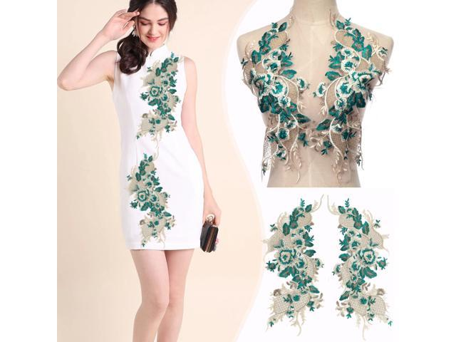 DIY 2PCS Green Lace Fabric Embroidered Flower Gown Appliques Trims Classic Collar Mesh Sew Patches For Wedding Decoration Dress - Green (Arts & Entertainment Arts & Crafts Crafting Fibers) photo