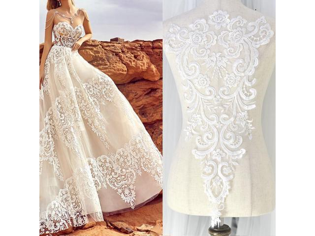 Details about 1Pcs Ivory Beaded Sequins Flower Embroidery Wedding Dress Bridal Lace Appliques - (Arts & Entertainment Arts & Crafts Crafting Fibers) photo