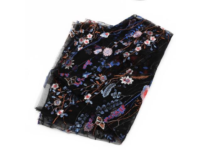 1 Yard Vintage Floral Embroidery Mesh Wedding Dress Lace Fabric 53' Width - Blue on black (Arts & Entertainment Arts & Crafts Crafting Fibers) photo