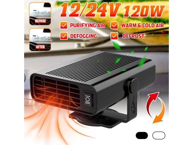 120W 12V/24V Car Defroster 360° Rotaing Electrical Appliances Car Windscreen for All Car Models - 24V-Black photo