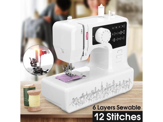 Professional Electric Sewing Machine 12 stitch Portable Multi-Function Household - Black panel with light photo