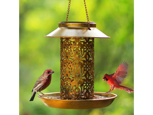 Solar Bird Feeder for Outdoors Hanging, SWEETFULL Metal Wild Bird Feeder for Cardinals Solar Garden Lantern with S Hook as Gift Ideas for Bird. (Home & Garden Decor) photo