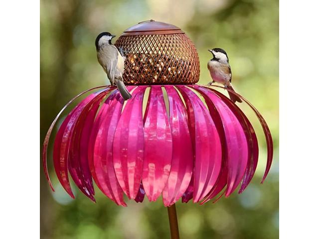 DOTSOG Coneflower Standing Bird Feeder for Outside - Metal Garden Art Bird Feeder with Hanging Frame Filter to Prevent The Loss of Bird Food(Red) (Home & Garden Lawn & Garden Outdoor Living) photo