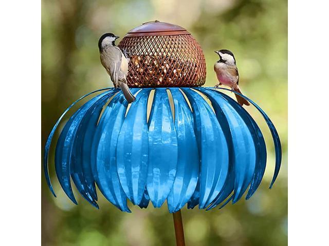 DOTSOG Coneflower Standing Bird Feeder for Outside - Metal Garden Art Bird Feeder with Hanging Frame Filter to Prevent The Loss of Bird Food(Blue) (Home & Garden Lawn & Garden Outdoor Living) photo