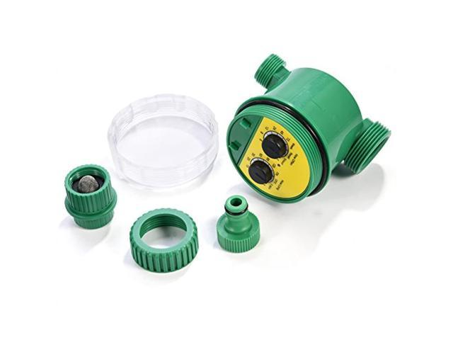 automatic irrigation timer, water timer electronic hose sprinkler garden irrigation controller two dial outdoor waterproof automatic on off water. photo