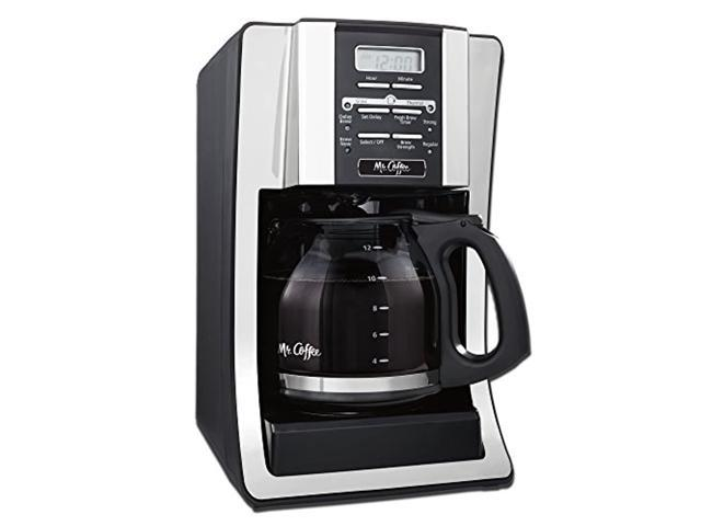 mr. coffee 12 cup programmable coffee maker with thermal carafe option, chrome photo
