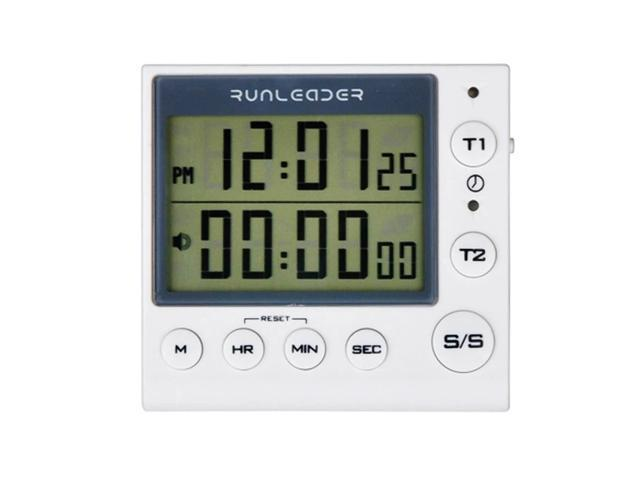 Kitchen Timer Digital Countdown Timer 2 Channel Flashing LED for Lab Electronic Kitchen Homework Workout Cooking photo