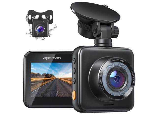 APEMAN Dash Cam, 1080P Dual Dash Cam Front and Rear, Car Camera with Dual 170 ° Wide Angle, Night Vision, 24hr Parking Monitor, Motion Detection, Loop Recording