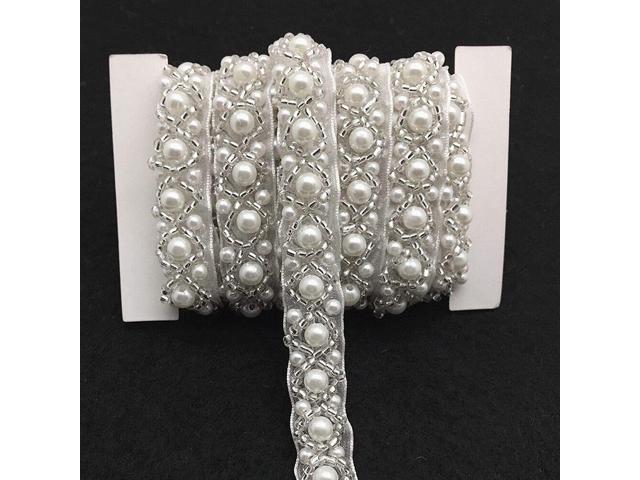 FQTANJU 3 Yards White Beaded Crystal Rhinestone Applique, Rhinetones Trim for Dress, Bridal Applique, Crystal Beaded Applique for Bridal Wedding. (921465166233 Arts & Entertainment Arts & Crafts Crafting Fibers) photo