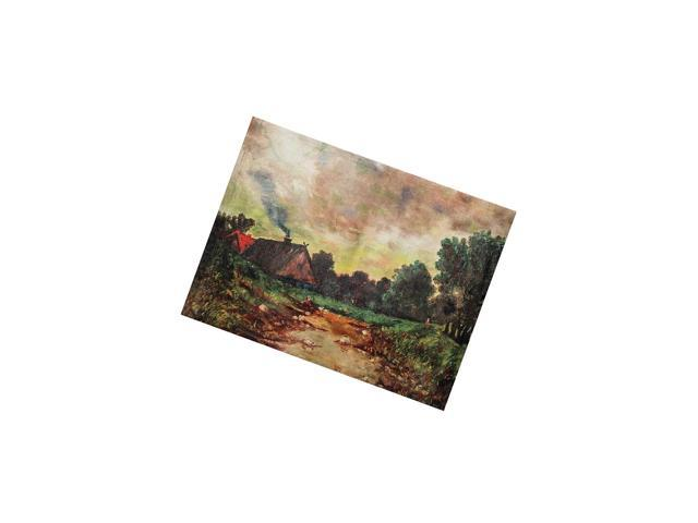 Canvas Wall DãCor With Vinta Cabin, 24 In. X 18 In. Ed Print, Green photo