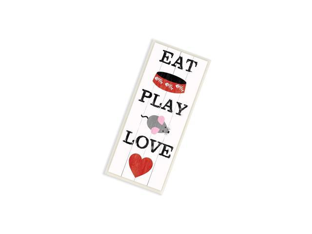 Stupell Home DãCor Eat Play Love With Bowl Mouse And Heart Art Wall Plaque, 7 X 0.5 X 17, Proudly Made In Usa photo