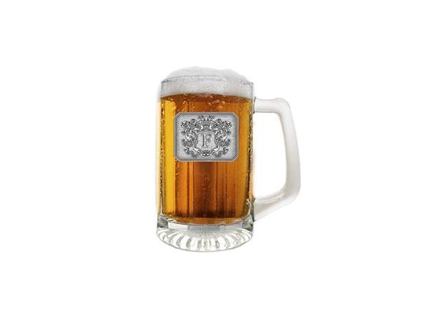 Customized Beer Mug & Stein with Handle- Personalized Large Beer Glass Freezer Safe with Hand Crafted Pewter Monogram Initial Letter F (25 oz) photo