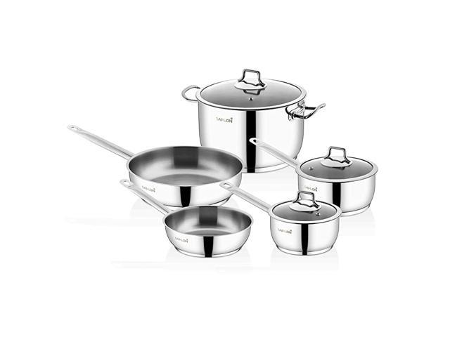 Stainless Steel Tri-Ply Capsulated Bottom 8 Piece Cookware Set, Induction Ready, Oven and Dishwasher Safe photo