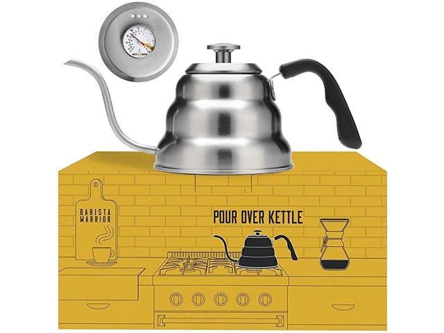 Stainless Steel Pour Over Coffee & Tea Kettle with Thermometer for Exact Temperature - Gooseneck Spout Pots - Kitchen Appliances & Dorm Essentials. photo