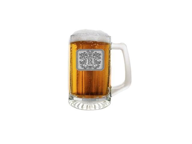 Customized Beer Mug & Stein with Handle- Personalized Large Beer Glass Freezer Safe with Hand Crafted Pewter Monogram Initial Letter R(25 oz) photo