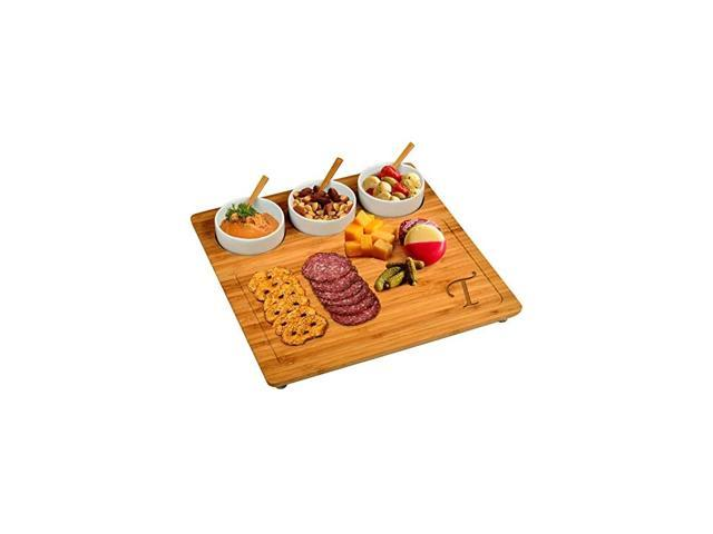 Original Personalized Monogrammed Engraved Bamboo Cutting Board for Cheese & Charcuterie with 3 Ceramic Bowls & Bamboo Spoons- Designed & Quality. photo
