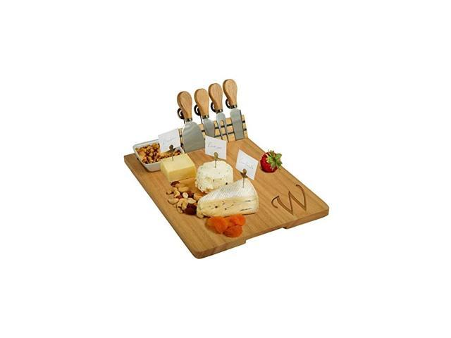 Personalized Monogrammed Engraved Hardwood Cutting Board for Cheese & Charcuterie- includes Knives, Cheese Markers & Ceramic Dish - Designed and. photo