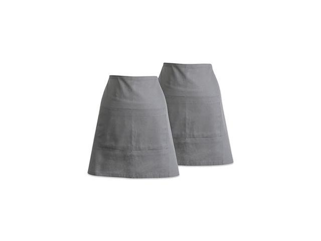 Adjustable Neck & Waist Ties with Front Pocket, 18x28 Apron Chino Chef Collection, Waist S/2, Gray 2 Piece photo