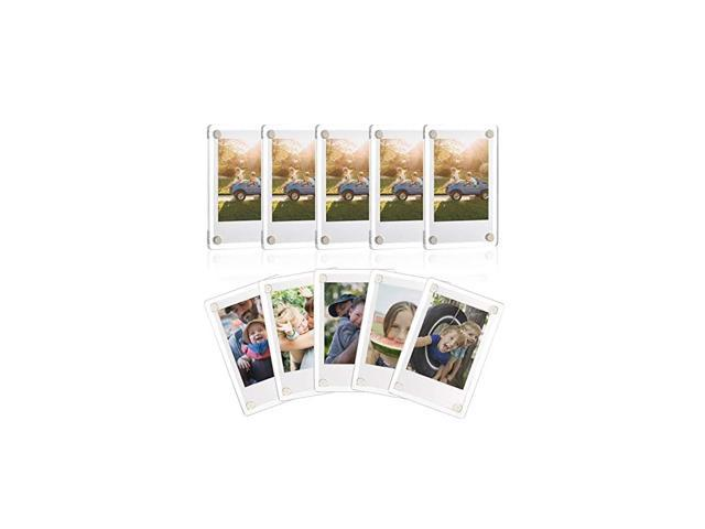 Acrylic Fridge Magnetic Frame, Double Sided Photo Refrigerator Magnet Picture Frame for Fujifilm Instax Mini, 2.36 x 3.54 Inch, Pack of 10 photo
