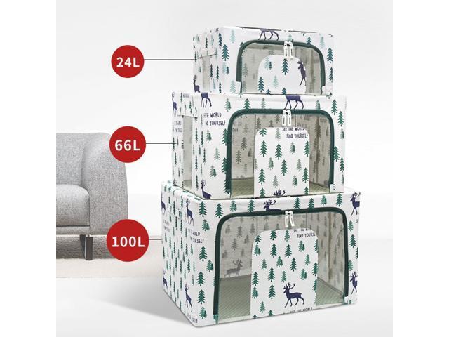 100L Household Folding Large Capacity Waterproof Tasteless Fabric Storage Box Bags Organizer-L/Green (830698816610 Electronics Communications Telephony Mobile Phone Cases) photo