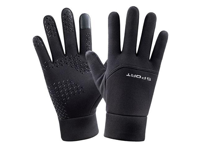 Loogdeel Cycling Gloves Elastic Non-slip Plus Velvet Windproof Stretch Fabric Warm Smooth Touch Screen Experience Cycling Gloves (Sporting Goods) photo