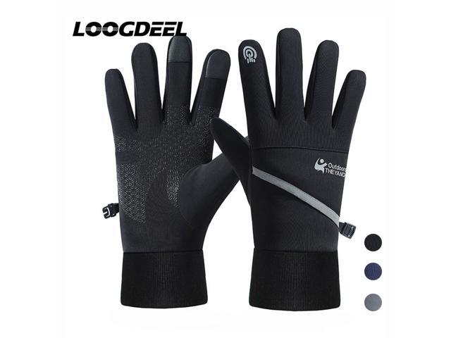 LOOGDEEL Cycling Gloves -density Carbon Fiber Fabric Windproof Waterproof Inner Velvet Touch Screen Design Cycling Gloves (Sporting Goods) photo