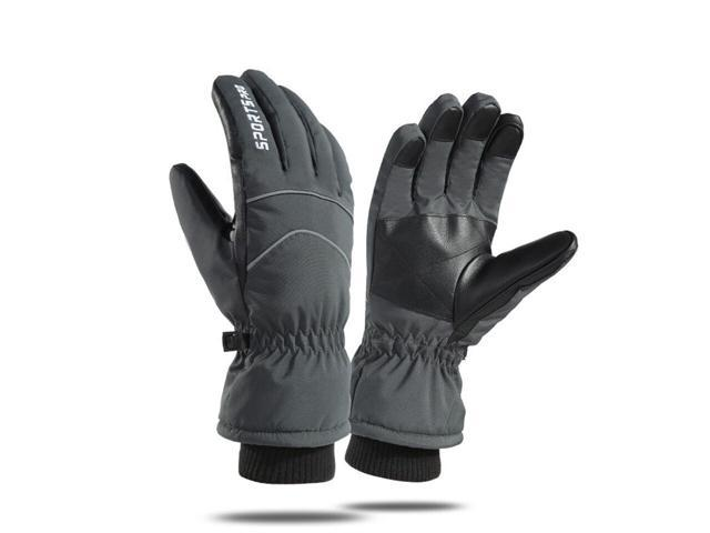 Loogdeel Ski Gloves Waterproof Fabric Finger Touch Screen Add Soft Velvet Warmth Windproof Wrist Anti-slip Comfortable Ski Glove (Sporting Goods) photo