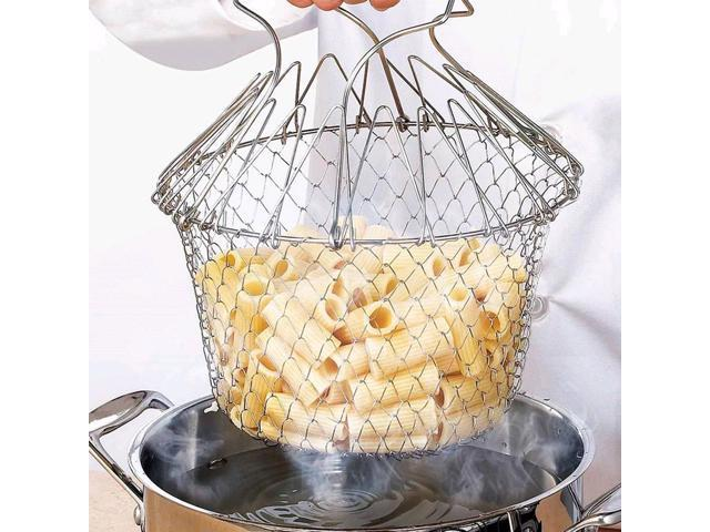 Foldable Steam Rinse Strain French Fry Chef Basket Magic Folding Basket Mesh Basket Strainer Kitchen Cooking Tools photo