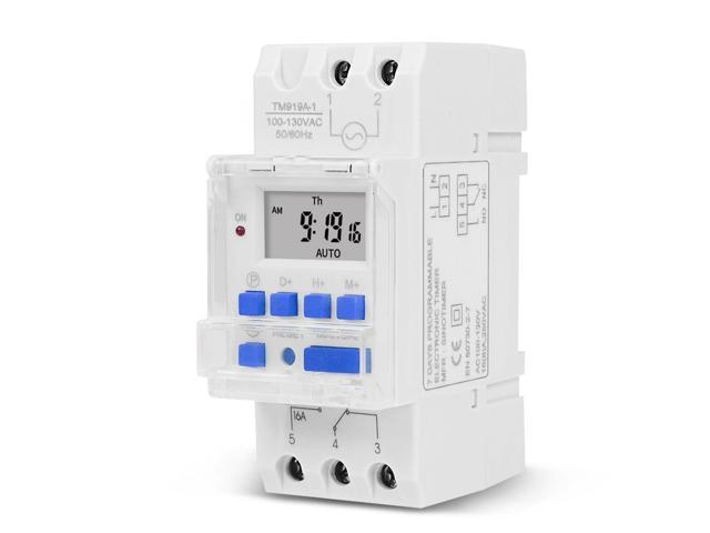 Electronic Weekly 7 Days Programmable Digital Industrial Time Switch Relay Timer Control 16A Din Rail Mount photo